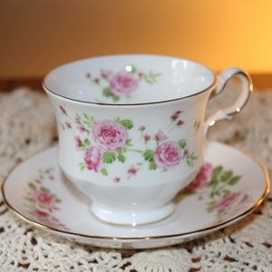 Pink Roses Teacup and Saucer Set